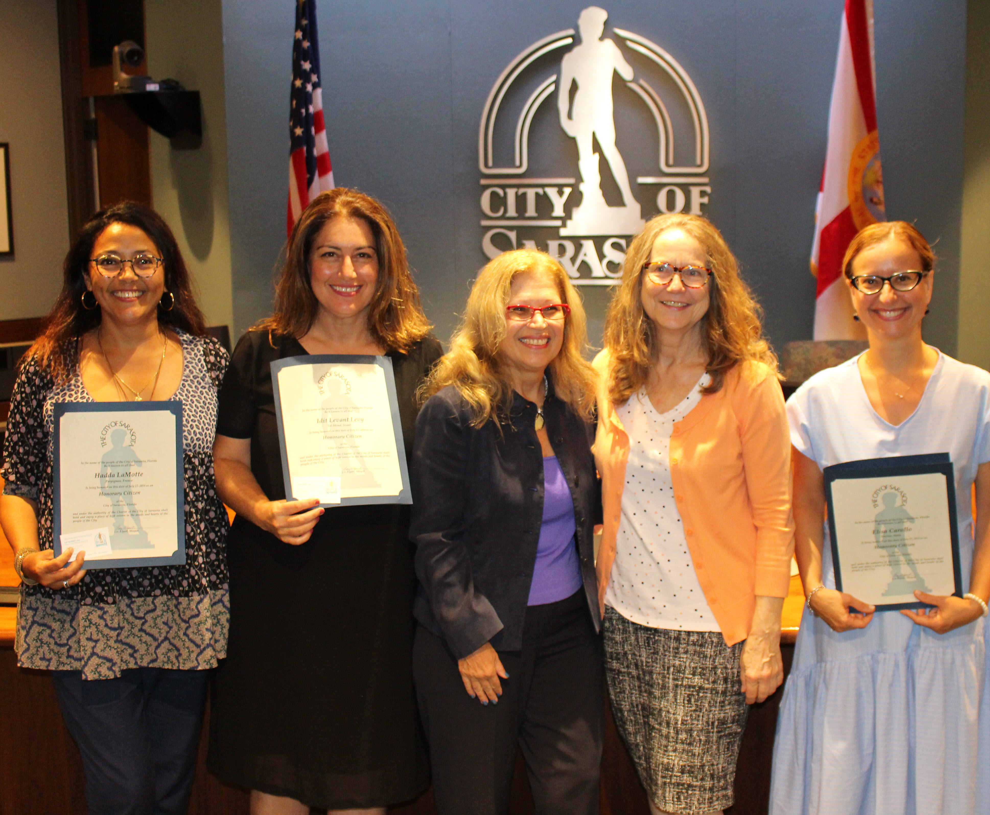 Sister Cities teachers, here in the U.S. on behalf of the Sister Cities Association of Sarasota, pose with Sarasota Mayor Liz Albert