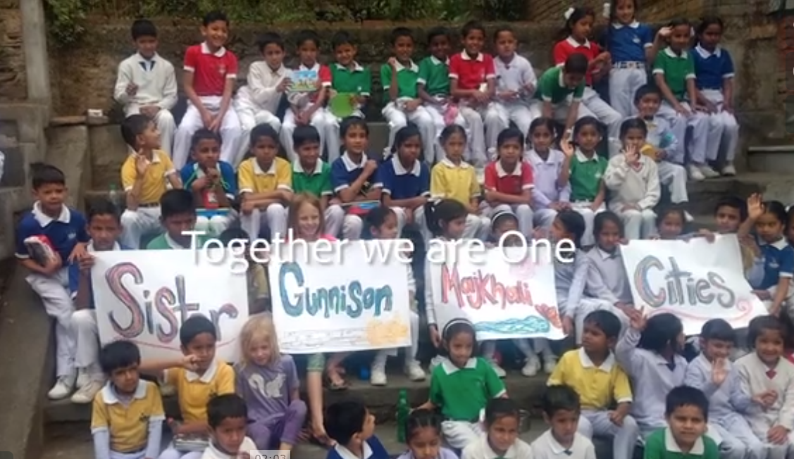 Students in India sharing posters