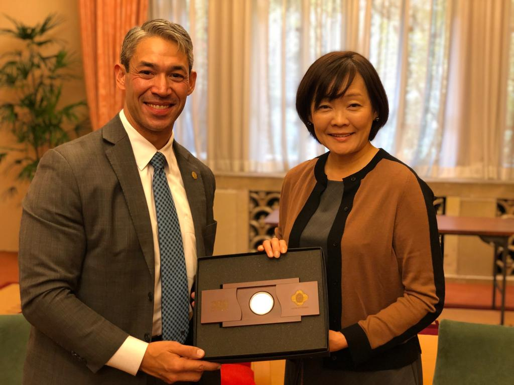 Mayor of San Antonio and Sister Cities International Board Chair, Ron Nirenberg, with Mrs. Akie Abe, Spouse of the Prime Minister of Japan